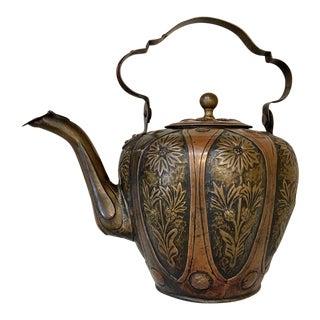 Art Nouveau Period Italian Embossed Copper & Brass Teapot For Sale