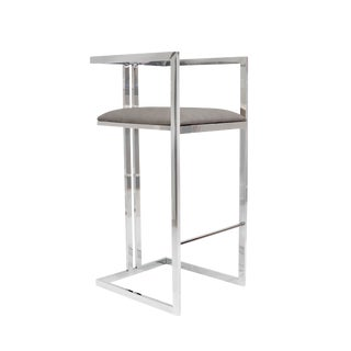 Pasargad Home Luxe Collection Bar Stool Gray For Sale