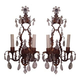 Gilt Metal and Crystal Two Light Wall Sconces - Pair For Sale