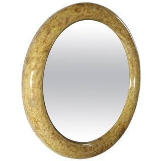 Faux Tortoise Round Mirror in the Manner of Karl Springer For Sale