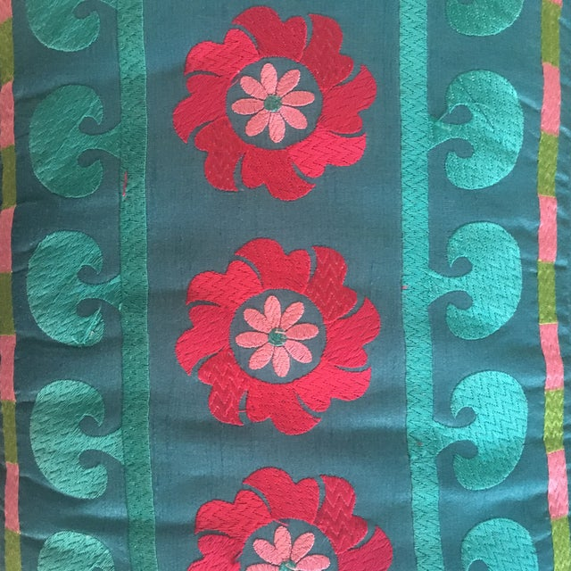 1980s 1980s Boho Chic Embroidered Turquoise Footstool For Sale - Image 5 of 9