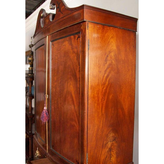 Fine George III Mahogany and Rosewood Linen Press For Sale - Image 9 of 10