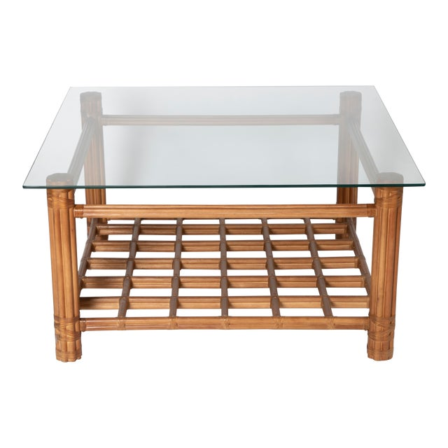 David Francis Rattan Coffee Table With Glass For Sale