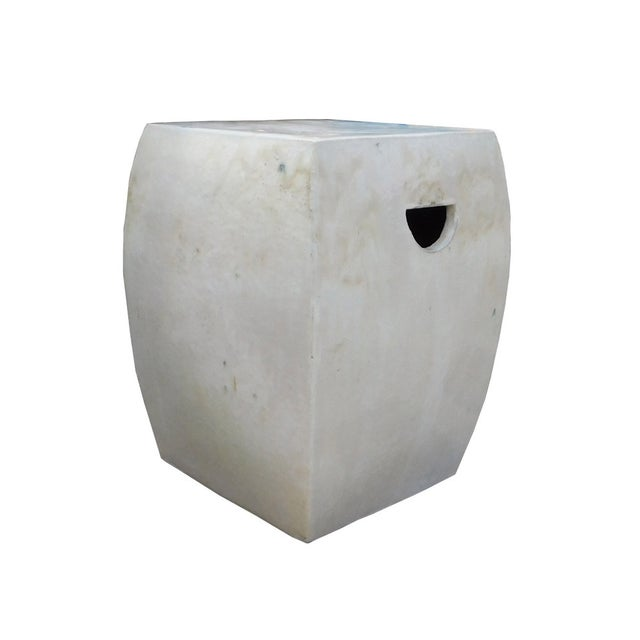 Chinese Off White Square Clay Ceramic Garden Stool - Image 3 of 7