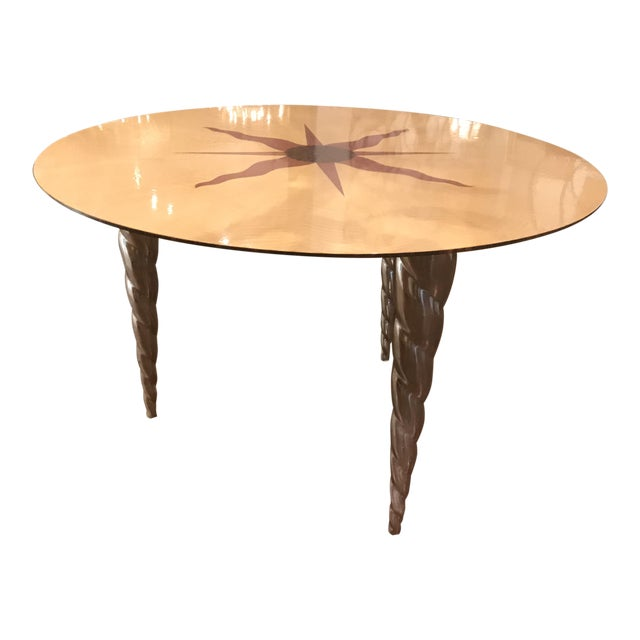 Fendi Style Nautical Rose Wood Inlay Side Table For