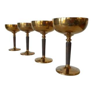Vintage Mid-Century Modern Bronze Champagne Stemware - Set of 4 For Sale