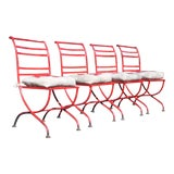 Image of Vintage Set 4 Mid Century Modern Patio Chairs Red Outdoor Metal Patio Furniture For Sale