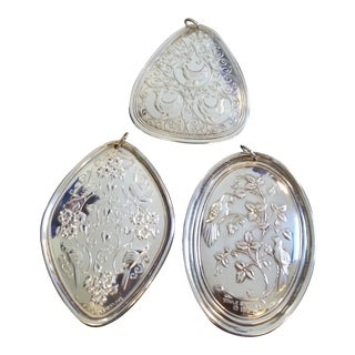 Three Sterling Silver Christmas Ornaments For Sale