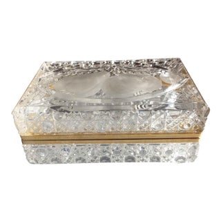 Vintage Crystal Cut Hinged Casket Box For Sale