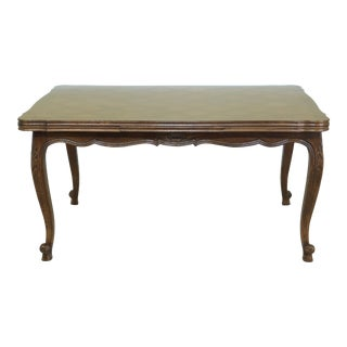 French Louis XV Style Oak Parquet Draw Leaf Dining Room Table For Sale