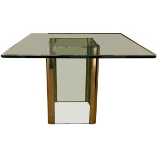 Vintage Leon Rosen for Pace Glass and Brass Square Dining Table For Sale