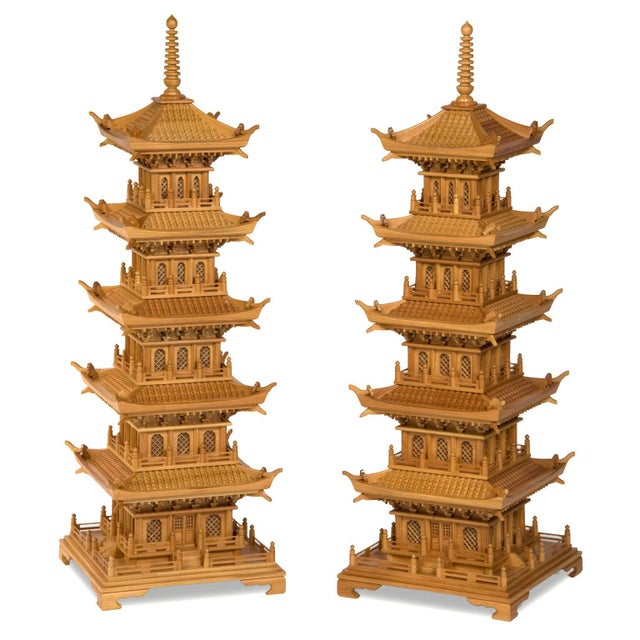Wood Large and Dramatic Pine Pagodas - A Pair For Sale - Image 7 of 7