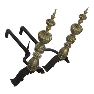 Antique Brass & Iron Andirons - A Pair For Sale