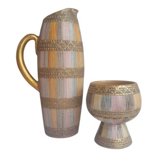 Vintage Italian Pitcher and Chalice Pottery Set