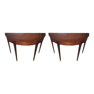 Mahogany Demilune Tables with Hand Painted Leaves, 20th Century - A Pair For Sale