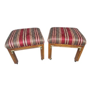Vibrant Vintage Upholstered Benches or Stools on Casters