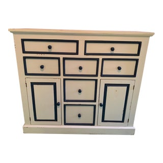 White and Navy Bradshaw Kirchofer Cabinet/Dresser With Removable Changing Table Top For Sale