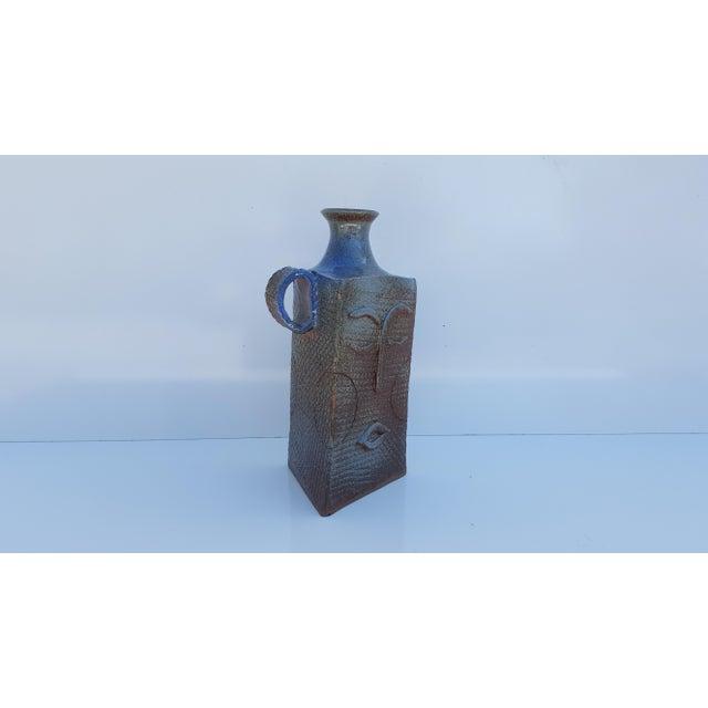 Vintage art handmade sculptural / Figural face shape Decorative studio pottery ceramic glaze Vase . Signed on the bottom -...