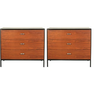 George Nelson 3 Drawer Orange Lacquered Chests - a Pair For Sale