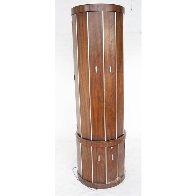 Mid-Century Modern Cylinder Shape Liquor Bar Cabinet Walnut For Sale - Image 3 of 5