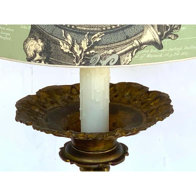 Baroque 19th Century Italian Bronze Altar Candlestick, Custom Shade, Now Electrified For Sale - Image 3 of 13
