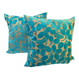 Blue Velvet Laser Cut Pillows - A Pair