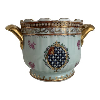 Vintage Hand Painted Gilt Ceramic Cachepot For Sale