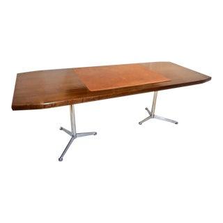 1960s Osvaldo Borsani Italian Mahogany Desk / Writing Table With Technical Sheet For Sale
