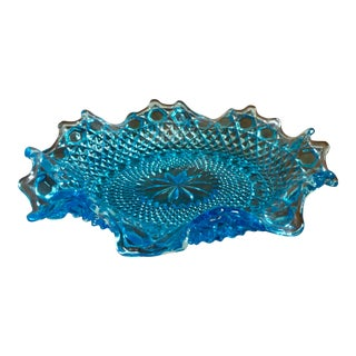 1970s Vintage Blue Cut Glass Candy Dish For Sale