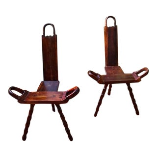 Antique Birthing/ Milking Chairs - a Pair For Sale