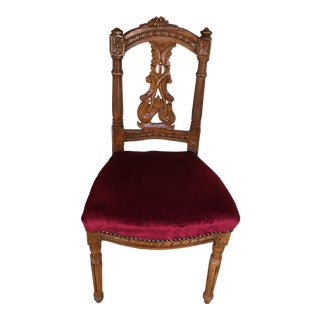 Carved Wood With Red Velour Side Chair