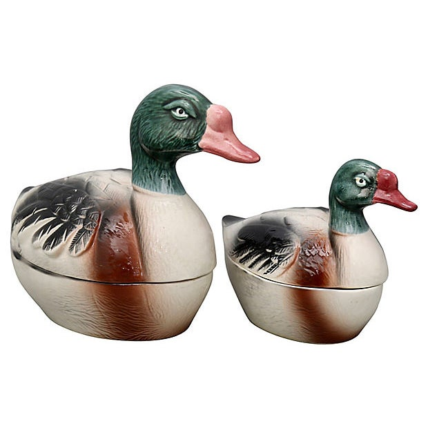 Pair of French majolica duck pâté tureens. Hand-painted and signed by Michel Caugant. Made in Portugal for the French...