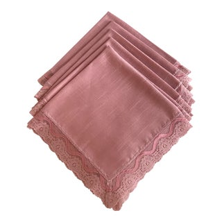 Mid-Century Modern Lace Trim Pink Dinner Napkins- Set of 5 For Sale