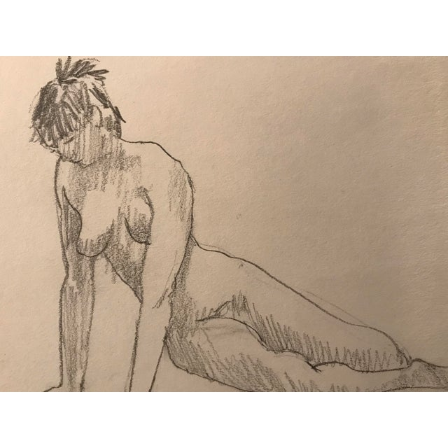 Figurative 1980s Contemporary Graphite Drawing of Nude Female For Sale - Image 3 of 3
