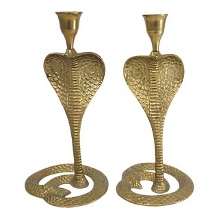 Brass Cobra Candlesticks For Sale