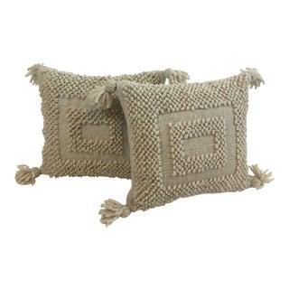 Boho Wool Pom Pom Tassel Pillow For Sale