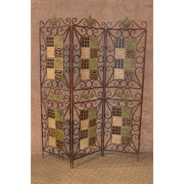 1980s Vintage 3-Panel Folding Screen For Sale - Image 13 of 13
