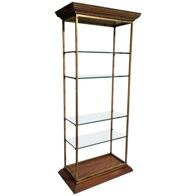 Vintage Midcentury Custom Oak Gilt Steel Metal Shelf Etagere Display Case For Sale