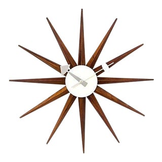 George Nelson Reproduction Walnut Sunburst Wall Clock For Sale