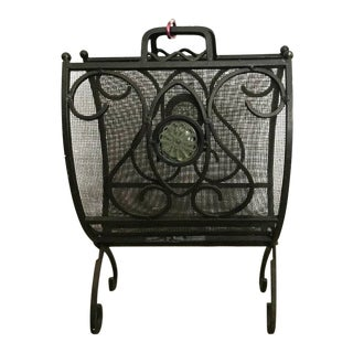Iron and Mesh Decorative Scrolls Firewood/Log Holder For Sale