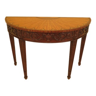 Traditional Henkel Harris Carved Mahogany Inlaid Satinwood Console Table For Sale