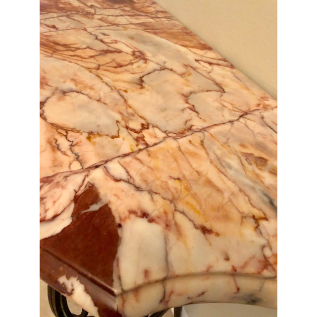 Metal French Wrought Iron Art Deco Marble Top Console For Sale - Image 7 of 13