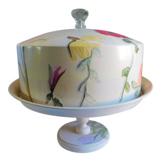Vintage Hand-Painted Aluminum & Wood Covered Cake Stand For Sale