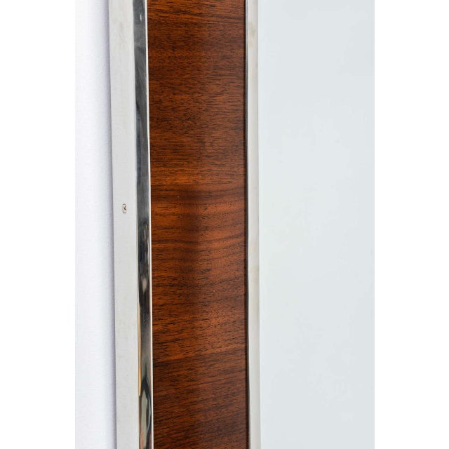 Karl Springer Style Mirror with Polished Chrome and Mahogany Frame, 1980s - Image 4 of 10