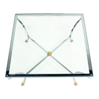 "Hoof Brass Feet Chrome and 3/4"" Glass Square Coffee Table For Sale"