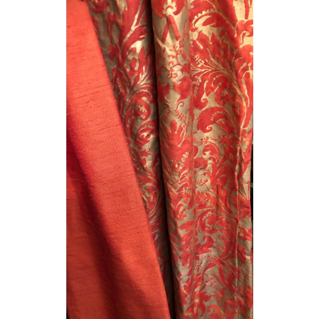 2000s Pair of Genuine Fortuny Gold & Orange-Red Curtains Drapes W Silk Verso For Sale - Image 5 of 8