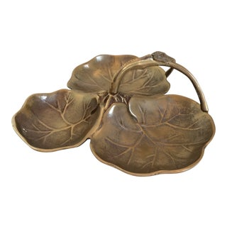 Vintage Brass Art Nouveau Style 3 Leaf Water Lily Handled Dish For Sale