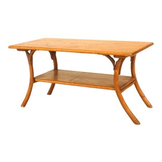 1940's or 1950's American Rustic Oak Coffee Table For Sale