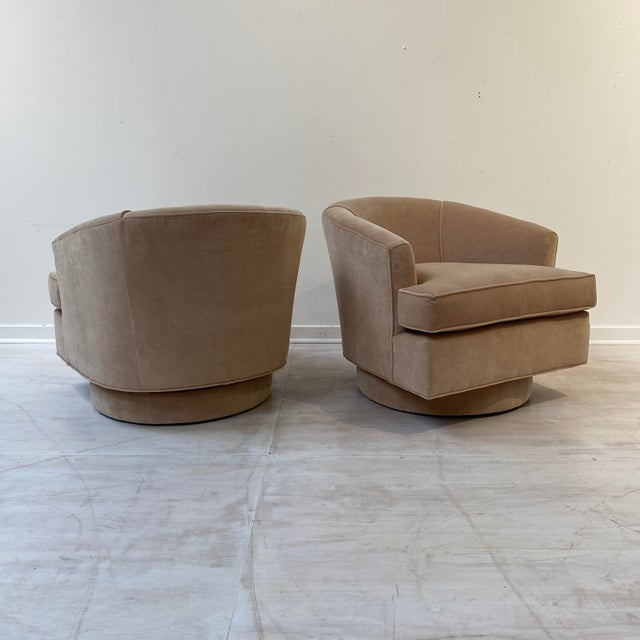Vintage Swivel Chairs in Camel Velvet - a Pair For Sale - Image 4 of 6