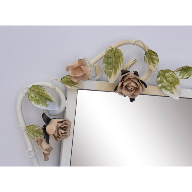 "1960s Italian Tole Mirror With Pale Pink Roses, 19"" X 24"" For Sale - Image 5 of 8"